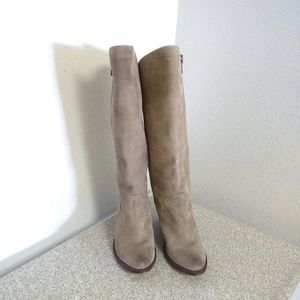 Frye Tan Suede Almond Toe Knee High Boots
